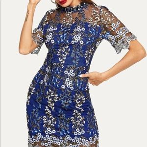 Floral embroidery mesh overlay bodycon XS-Small